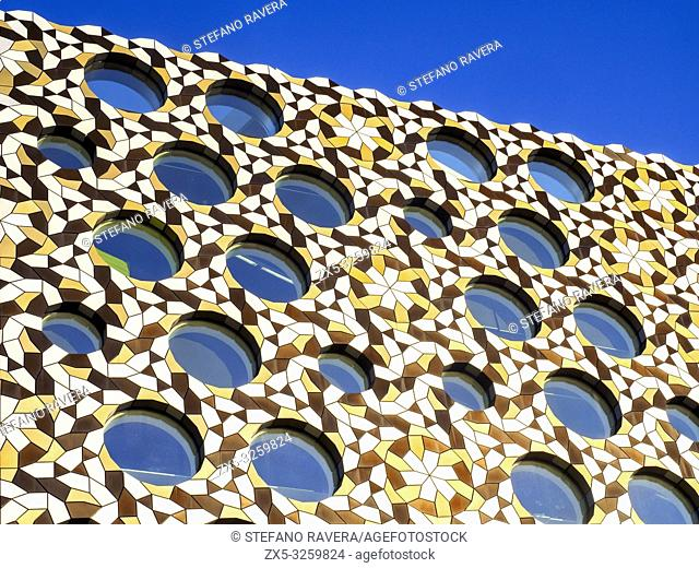Close up of the Ravensbourne University London facade in the Greenwich Peninsula - South East London, England