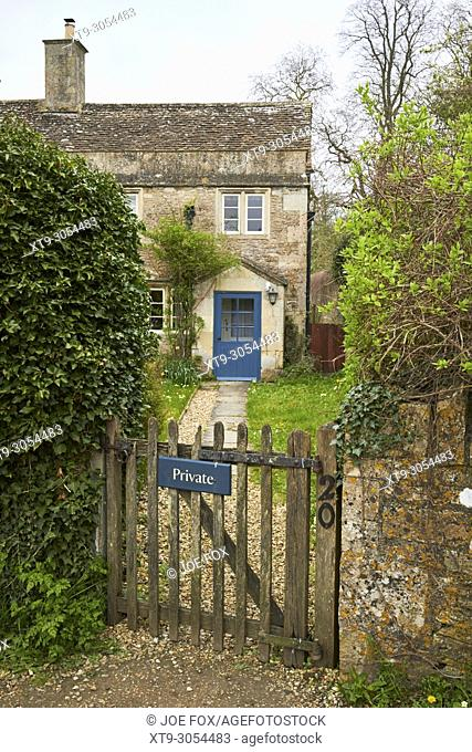 House with private sign on the gate in Lacock village used as the Harry Potters parents house in the movie wiltshire england uk