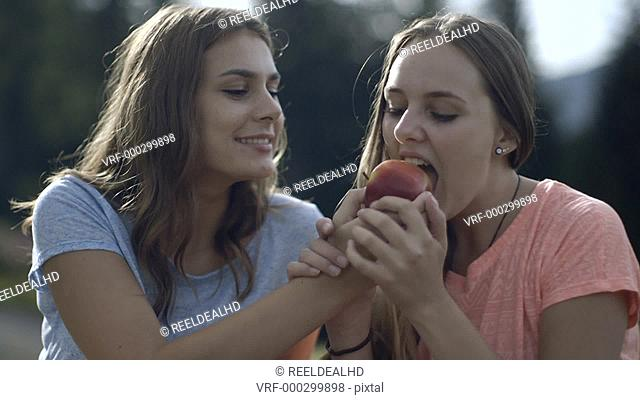 Friends sharing apple in countryside