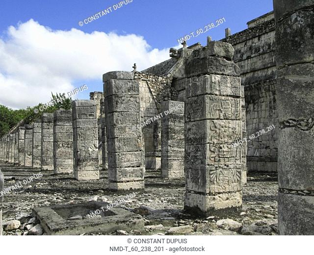 Old ruins of a temple, Temple of Warriors, Chichen Itza, Yucatan, Mexico