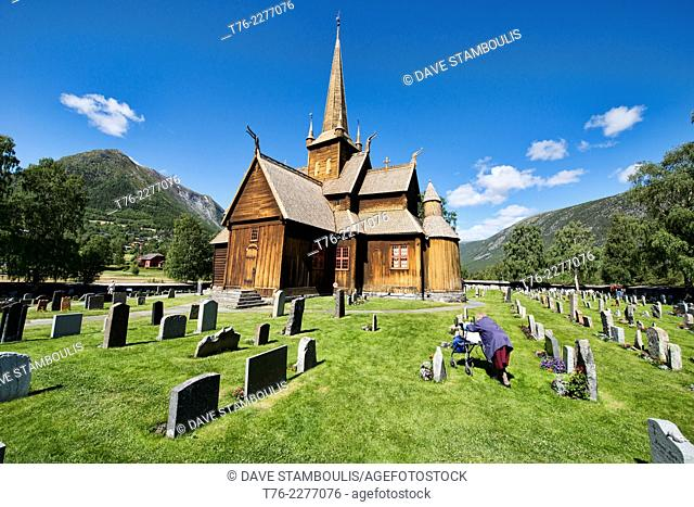 The old stave church in Lom, Norway