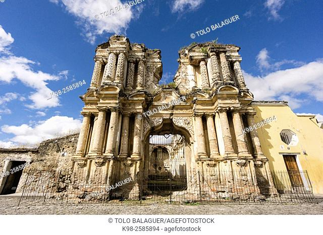 Guatemala, Sacatepequez, Antigua Guatemala, facaded of Nuestra Señora del Carmen church, destroyed by 1773 Guatemala earthquake