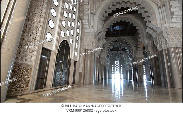 Casablanca Morocco interior famous Hassen II Mosque largest mosque in Morocco and 7th largest in world prayer room architecture opened in 1963