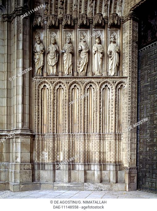 Reliefs depicting the Apostles, Door of Forgiveness, 1418, by Alvar Matinez, Cathedral of St Mary, Toledo (UNESCO World Heritage List, 1986), Castilla-La Mancha