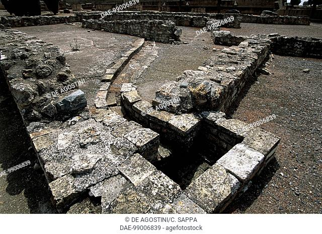 Ruins of the sewage system in Italica, Roman city founded in 205 BC by Scipio Africanus, Andalusia, Spain. Roman civilisation, 2nd century