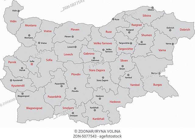 Gray Bulgaria map