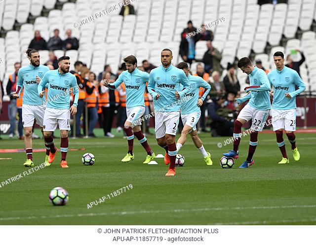2017 Premier League Football West Ham v Leicester City Mar 18th. March 18th 2017, The London Stadium, East London, England; EPL Premier League football