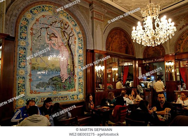 Turkey, Istanbul, Art nouveau cafe at Istiklal Caddesi road