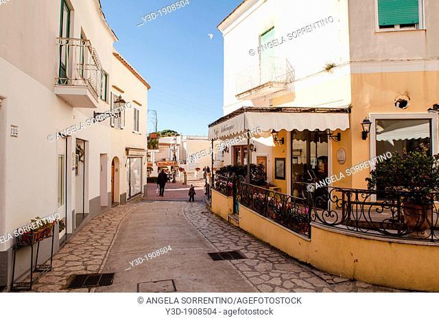 beautiful street in Capri, Bay of Naples, Italy