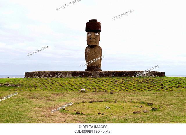 Ahu Ko Te Riku moai statue on Easter Island coast