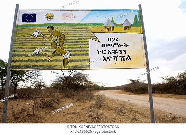 sign of an aid project in Etjiopia