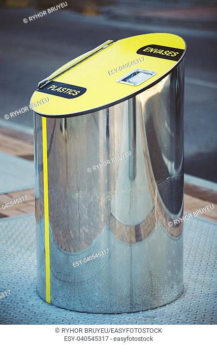 Metal Waste bin, trash can for separate waste outdoor. Cylindrical Bin For Collection Of Recycle Materials