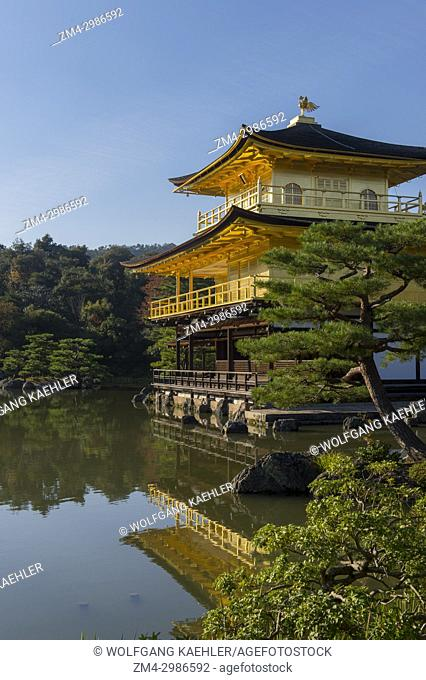 The Kinkaku-ji or Temple of the Golden Pavilion, part of the Rokuon-ji Temple (Deer Garden Temple), a Zen Buddhist temple in Kyoto, Japan