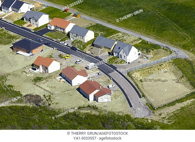 France, Moselle (57), Crehange, residential houses in construction (aerial view)