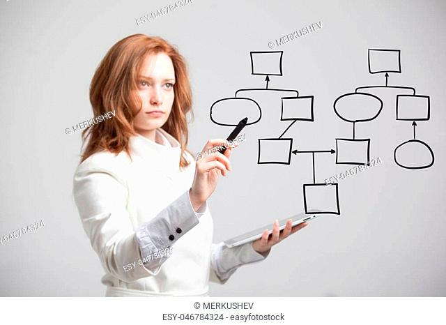 Businesswoman drawing flowchart, business process concept on grey background