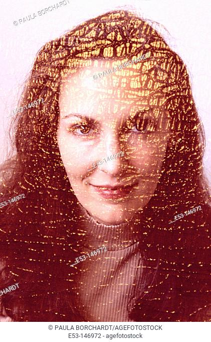 Portrait of woman - 'old cracked painting' effect
