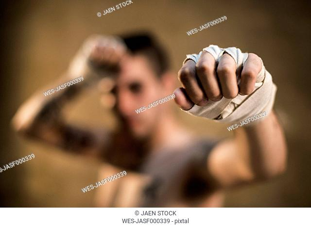 Bandaged hand of muay thai fighter