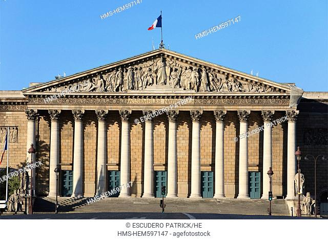 France, Paris, the Palais Bourbon, headquarters for the Assemblee Nationale French National Assembly