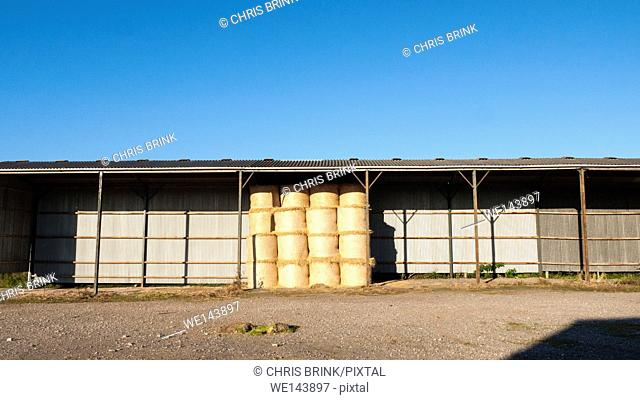 Barn with hay bales storage in Wales, UK