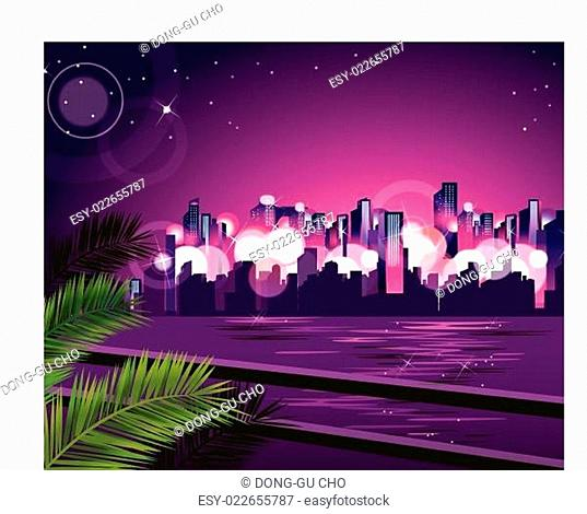 City skyline at night