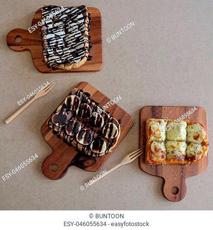 breakfast toast, Pizza toasted bread, bananas chocolate toasted bread, toast topping with chocolate peanut