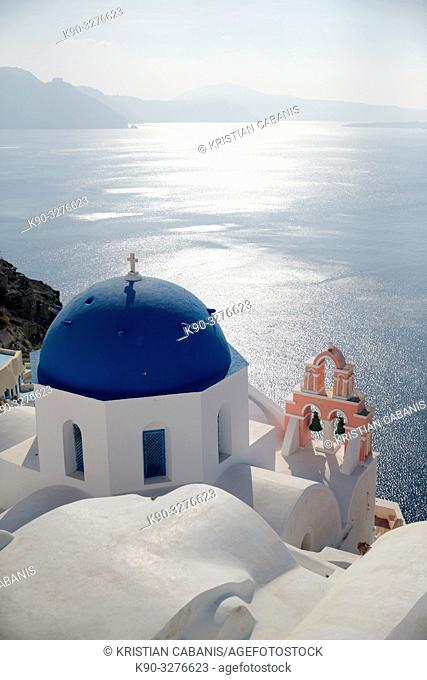 Church with blue roof seen from above, Oia, Santorin, Greece, Europe