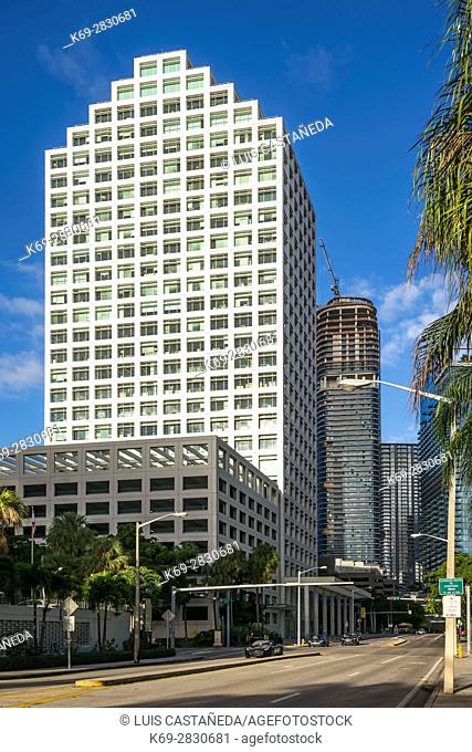 8th Street and Brickell Ave. Buildings. Downtown Miami