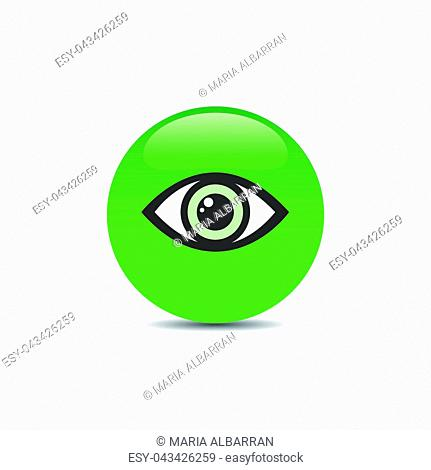 Green eye icon on a bubble and white background. Vector illustration