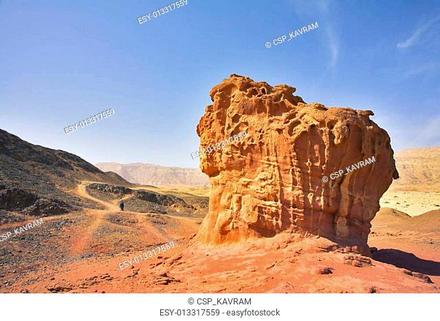 The figures from red sandstone in desert Arava