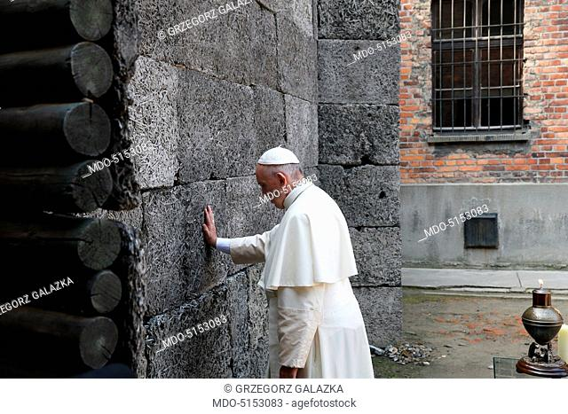 The Pope Francis' Apostolic journey to Poland (27th-31st July 2016). Pope Francis (Jorge Mario Bergoglio) praying in front of the Death Wall