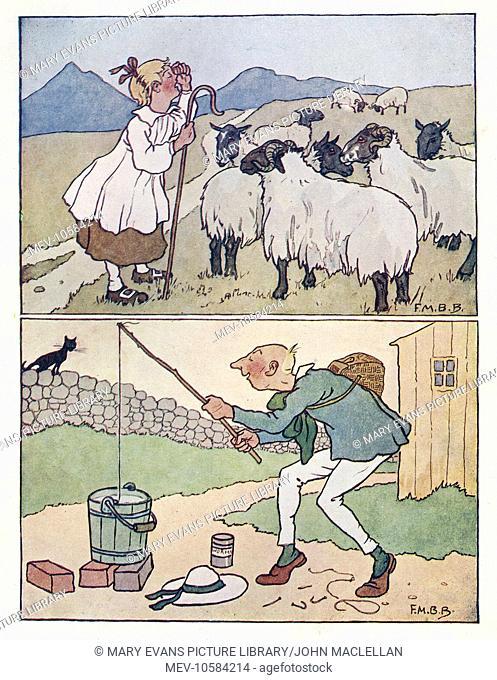 Nursery Rhymes. Little Bo Peep with her sheep (above). Simple Simon fishing in a bucket (below)
