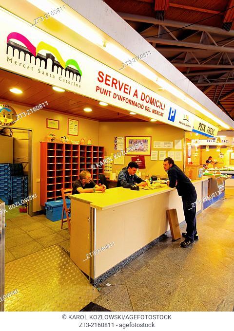 Interior view of Mercat de Santa Caterina - Fresh Food Market in Barcelona, Catalonia, Spain