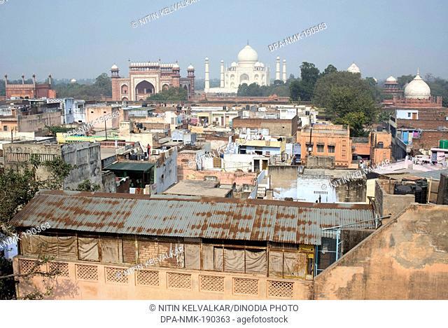 Taj Mahal and houses Agra Uttar Pradesh India Asia