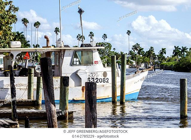 Florida, Everglades City, Barron River, commercial fishing crabbing boat