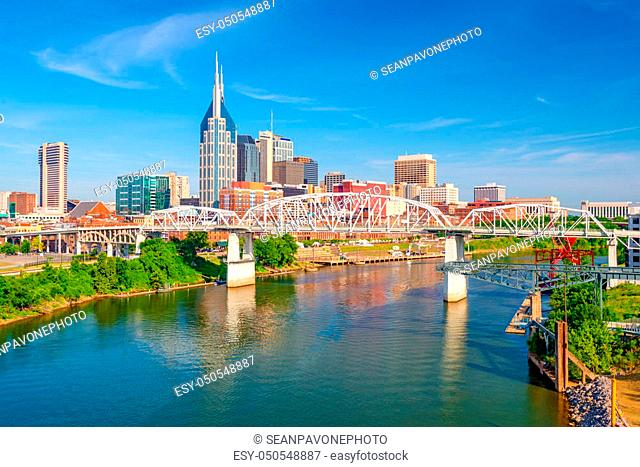 Nashville, Tennessee, USA downtown city skyline on the Cumberland River
