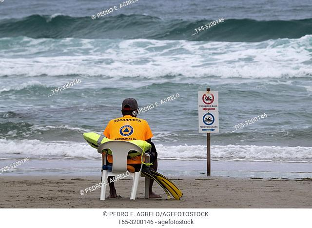 Lugo .- Ribadeo, a lifeguard on the Beach of the Cathedrals or Augas Santas