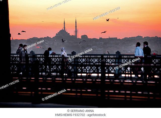 Turkey, Istanbul, Beyoglu, Galata Bridge over the Golden Horn Strait