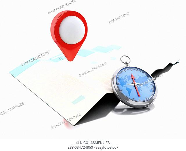 3d renderer image. Map with blue pointer and a compass. Navigation concept. Isolated white background