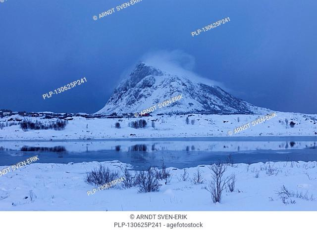 Mount Hoven in the snow in winter, Gimsoya, Lofoten, Norland, Norway