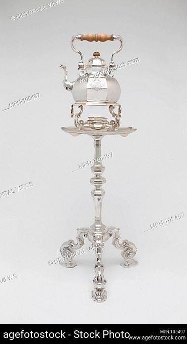 Teakettle, lamp, and table. Maker: Simon Pantin I (British, ca. 1672-1728); Date: 1724-25; Culture: British, London; Medium: Silver
