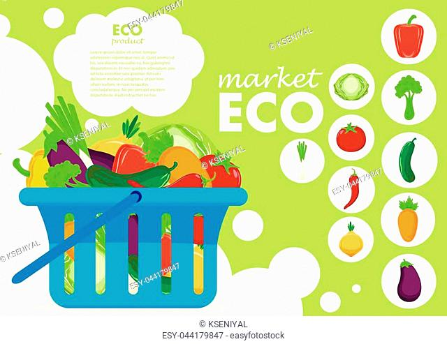 Eco products poster vector illustration. Bio and eco nutrition concept
