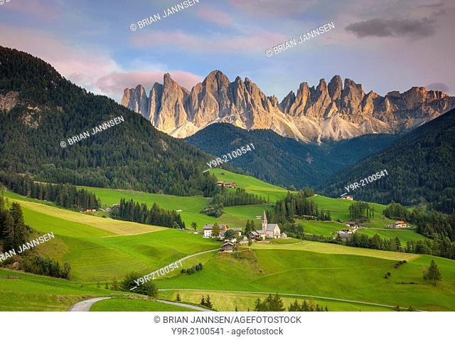 Santa Maddelena and The Dolomites in Val di Funes, Trentino-Alto-Adige Italy