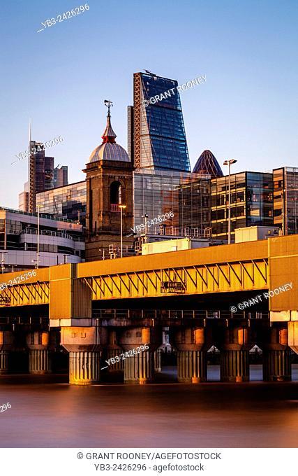 Cannon Street Railway Bridge and The City of London Skyline, London, England
