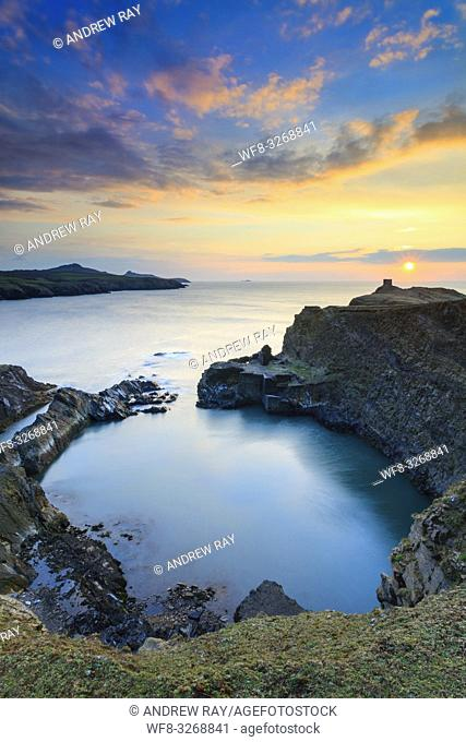 The Blue Lagoon near Abereiddy captured shortly before sunset from the Pembrokeshire Coast Path