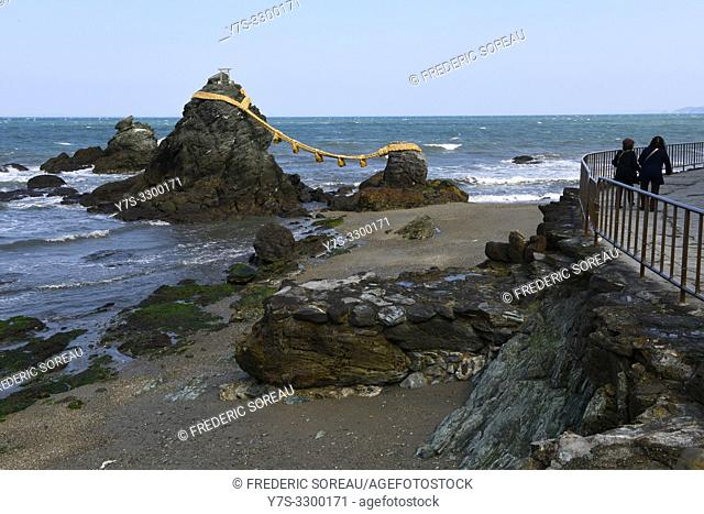 The Married Couple Rocks, or Meoto Iwa, Ise, Japan, Asia