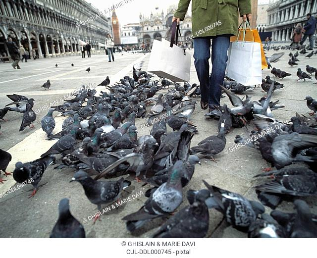 Woman with shopping bags walking through group of pigeons