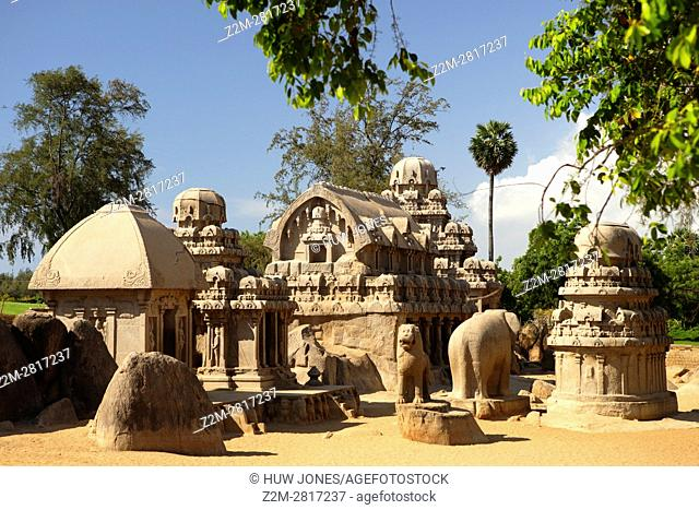 The Five Rathas Group, Mahabalipuram, UNESCO World Heritage Site, Near Chennai, Tamil Nadu state, India, Asia