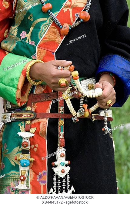 Tibetan dress, Yushu, Qinghai province, China