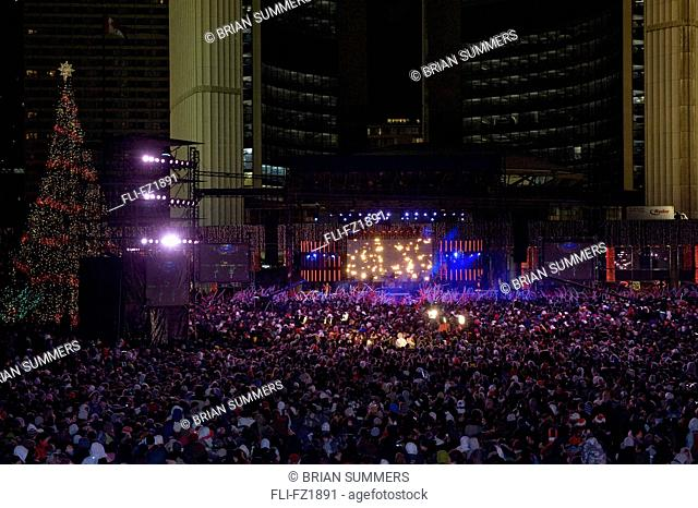 Crowd on New Year's Eve, Nathan Phillips Square, City Hall, Toronto, Ontario