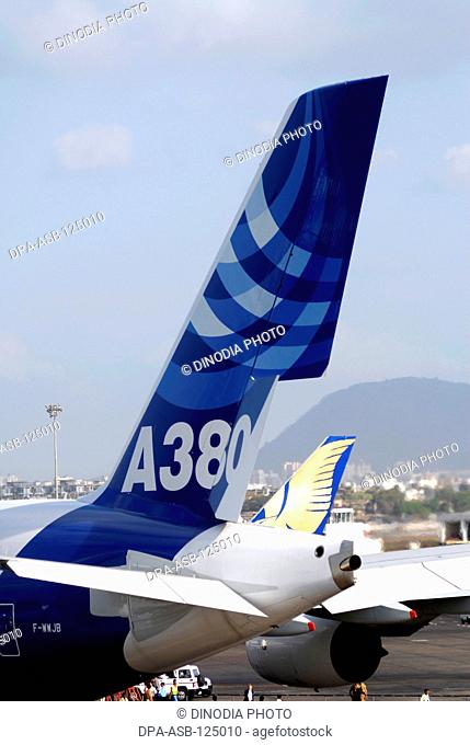 Largest commercial airline Airbus A380 lands at Sahar Airport or Chatrapati Shivaji International Airport in Bombay Mumbai on 8th May 2007; Maharashtra ; India